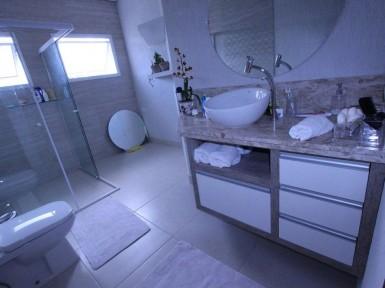 [Gabinete de banheiro planejado Moóca SP em MDF Vintage com tamponamento de 45mm ]